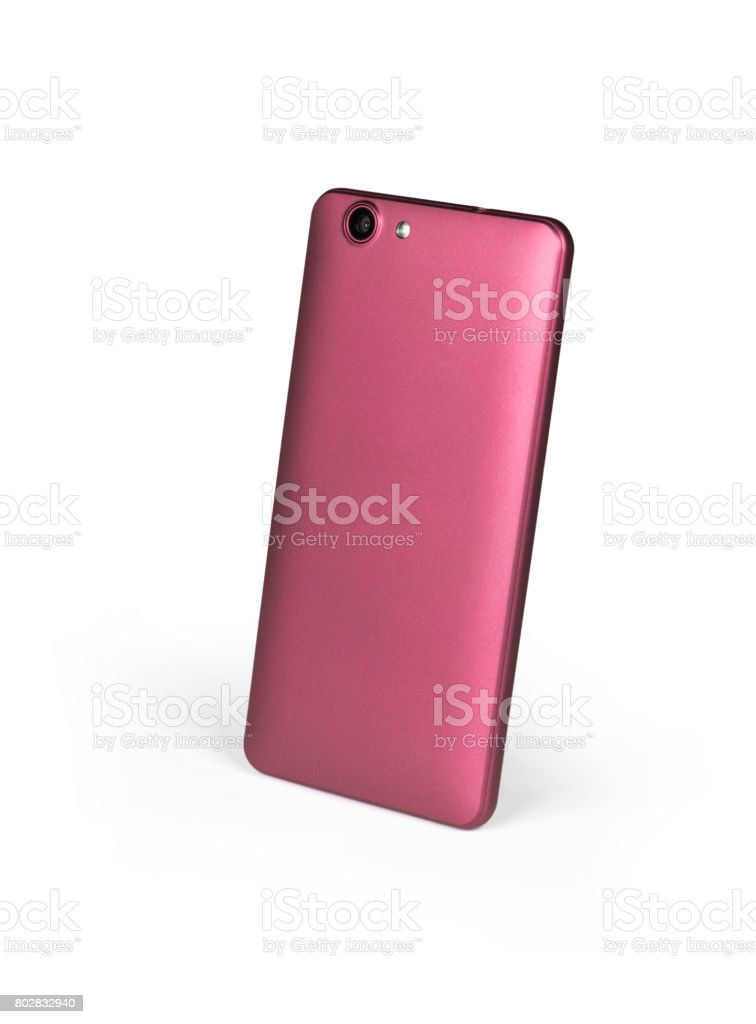Pink mat mobile smart phone standing on white background viewed from back side. Isolated with clipping path stock photo