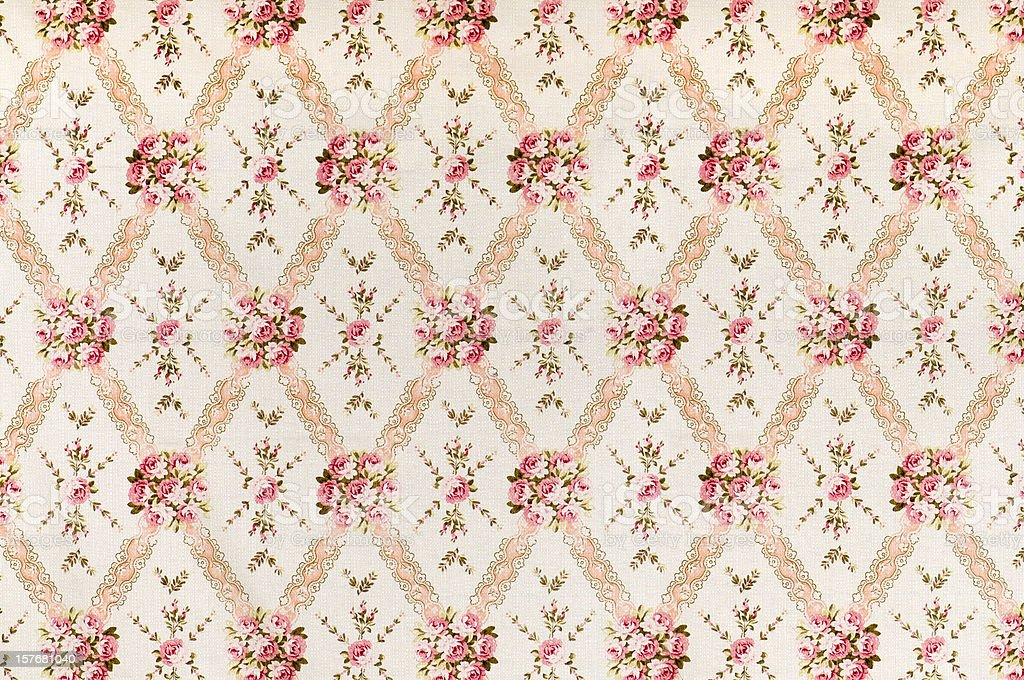 Pink Meadow Medium Antique Floral Fabric royalty-free stock photo
