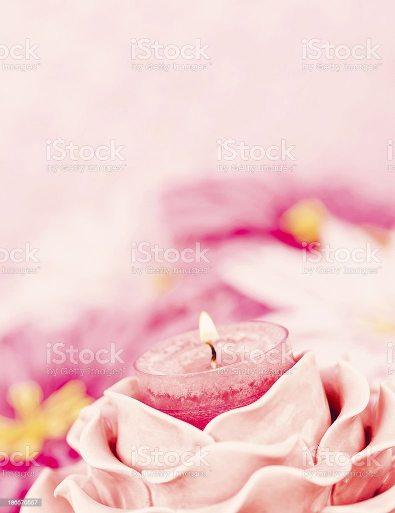Pink Memorial Candle with Flowers royalty-free stock photo