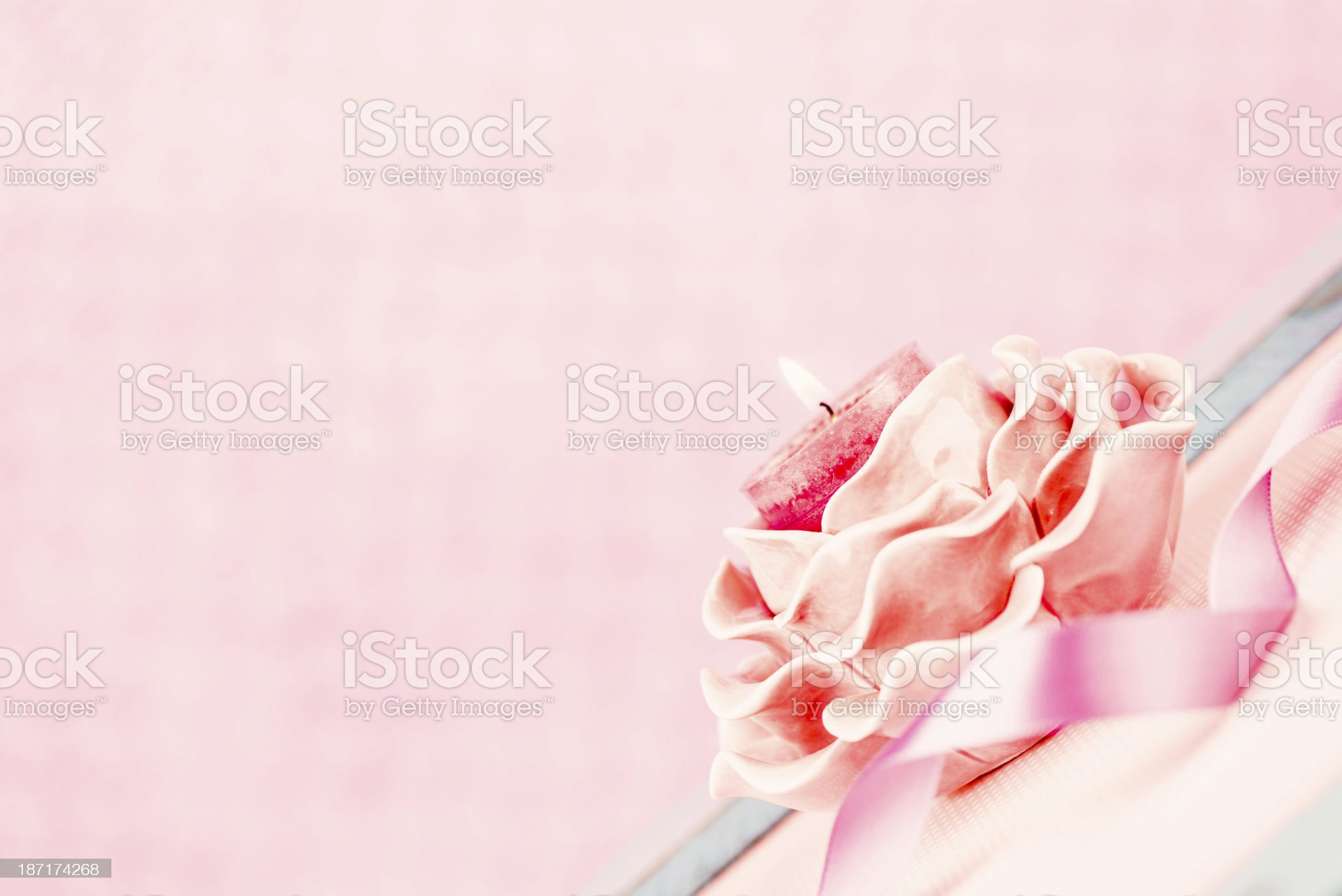 Pink Memorial Candle with Ribbon royalty-free stock photo