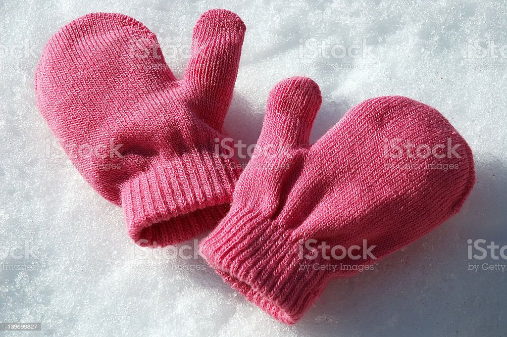 Pink Mittens royalty-free stock photo