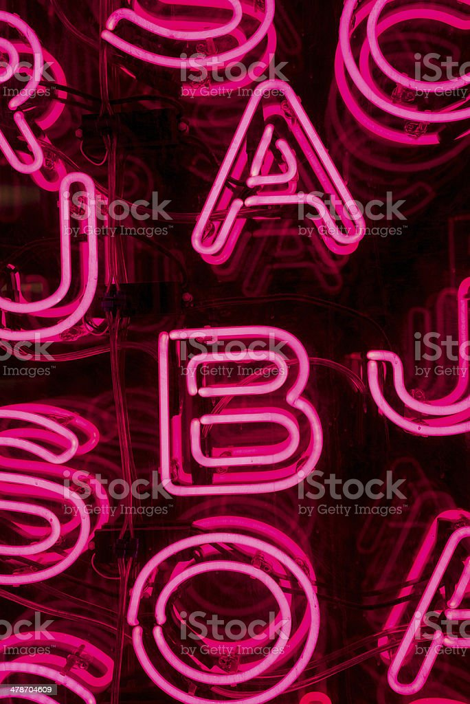 Pink Neon Letters (2) stock photo