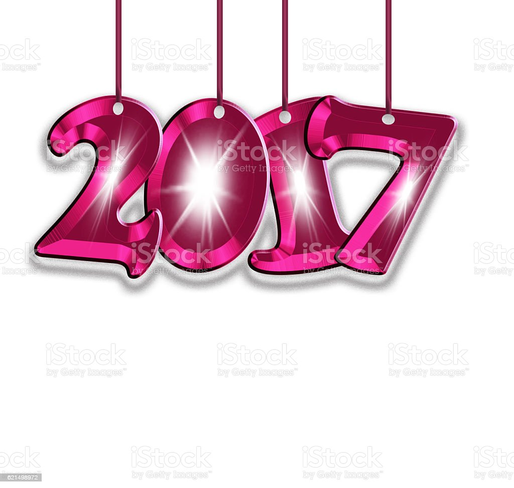 Pink number 2017 on a white background. stock photo
