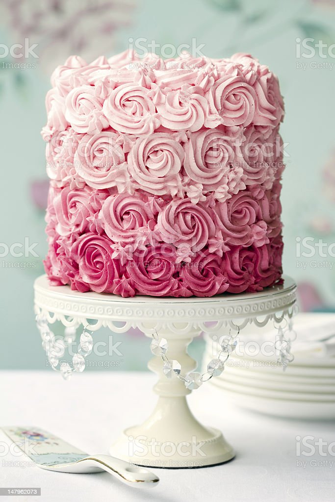 Pink ombre cake stock photo