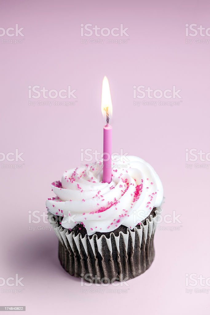 Pink One Year Celebration Cupcake royalty-free stock photo