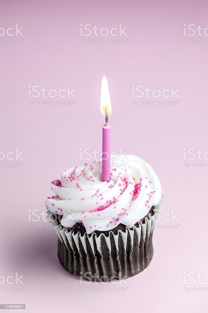 Pink One Year Celebration Cupcake stock photo
