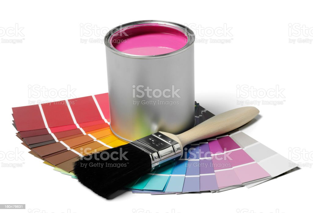Pink Paint and Brush royalty-free stock photo