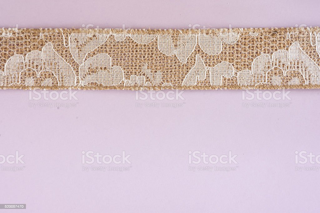 Pink Paper with White Lace and Burlap Border stock photo