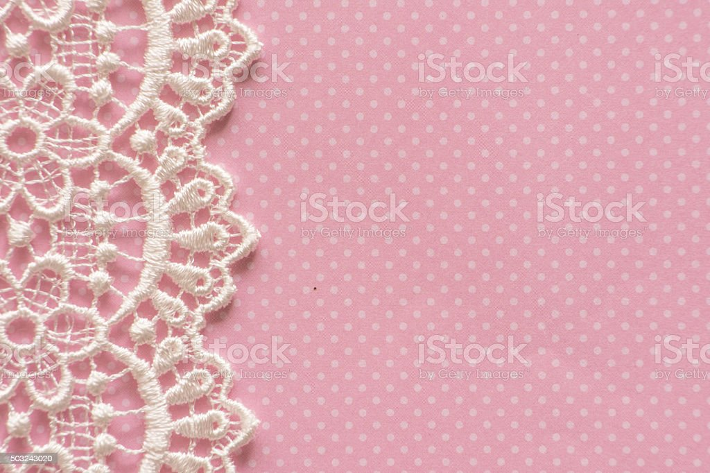 Pink Paper with White Lace Border stock photo