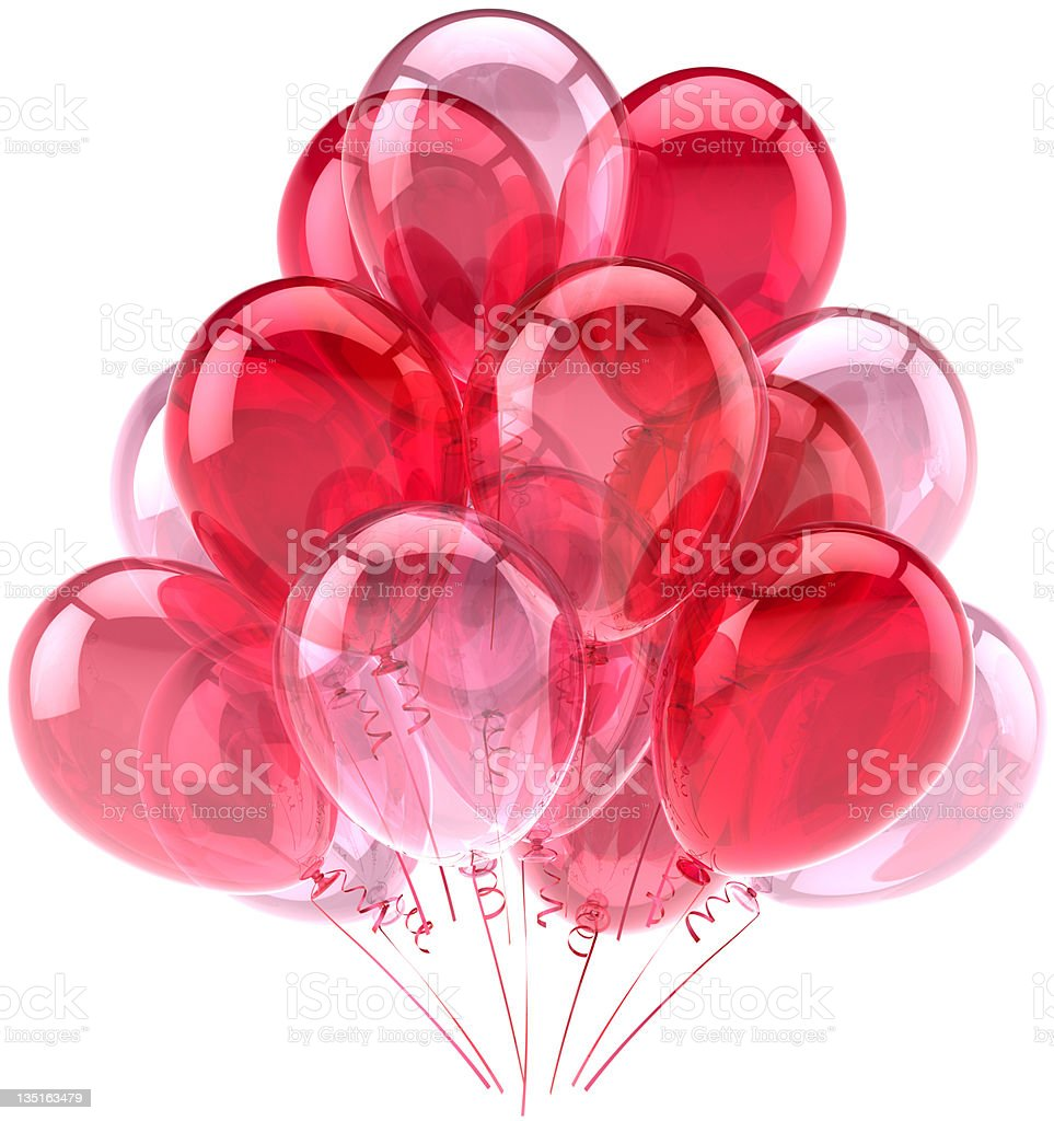 Pink party balloons romantic decoration stock photo