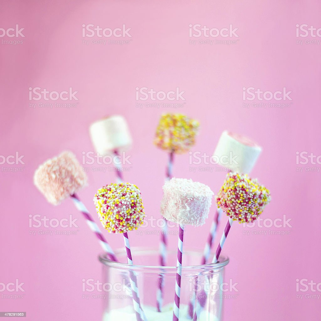Pink party marshmallows stock photo