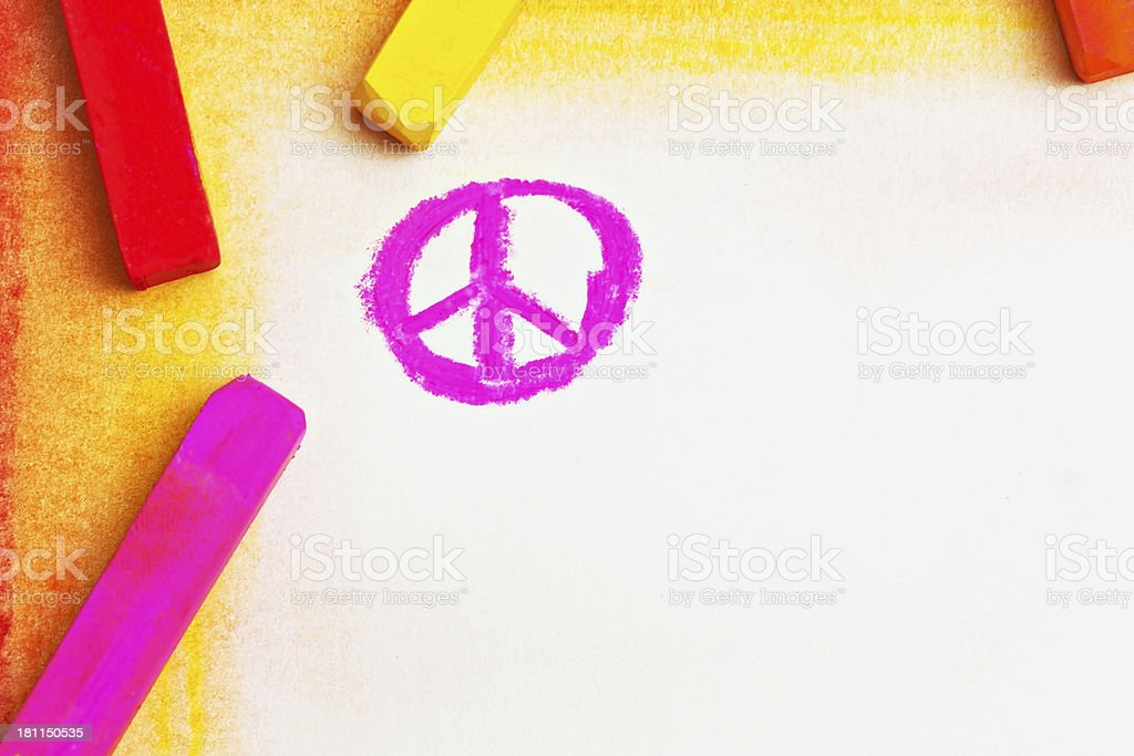 Pink pastel drawing of Peace symbol stock photo