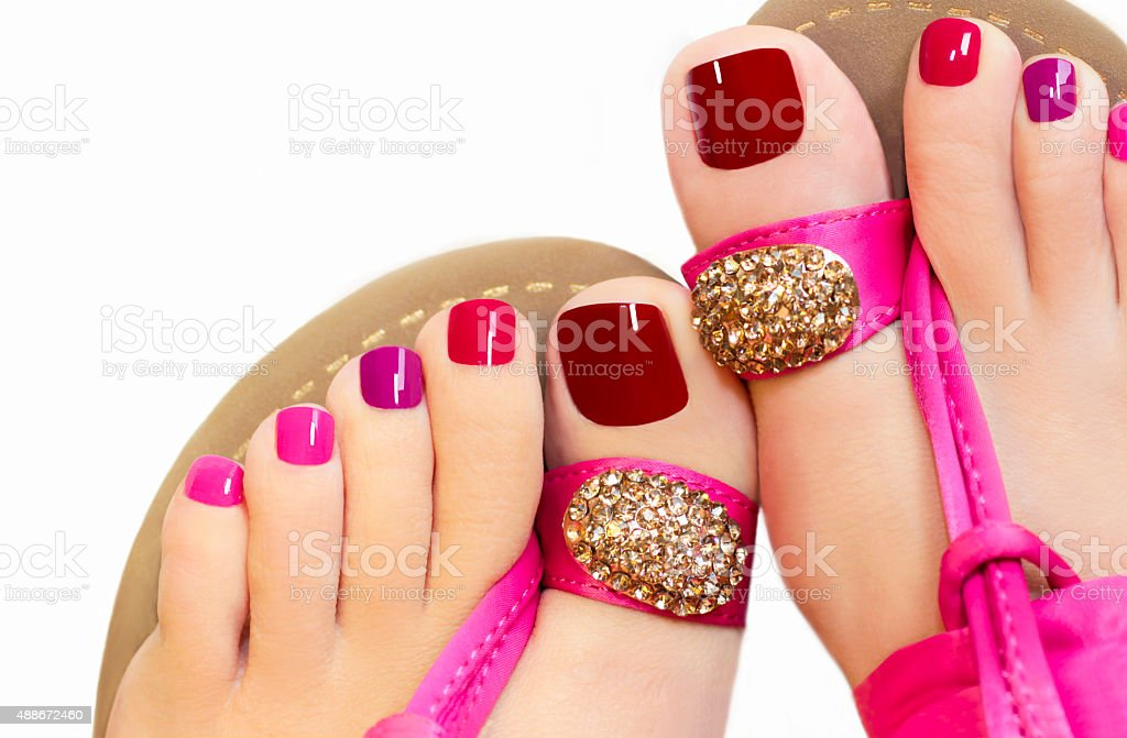 Pink pedicure. stock photo