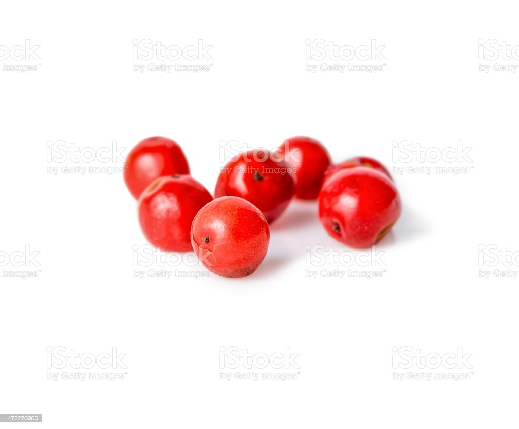 pink pepper is isolated on white background, closeup stock photo