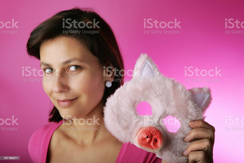Pink pig girl royalty-free stock photo