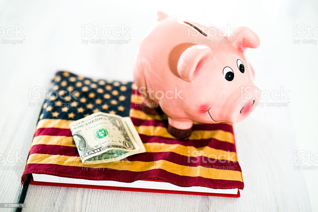 Pink Piggy Bank on Dollars with American Flag stock photo