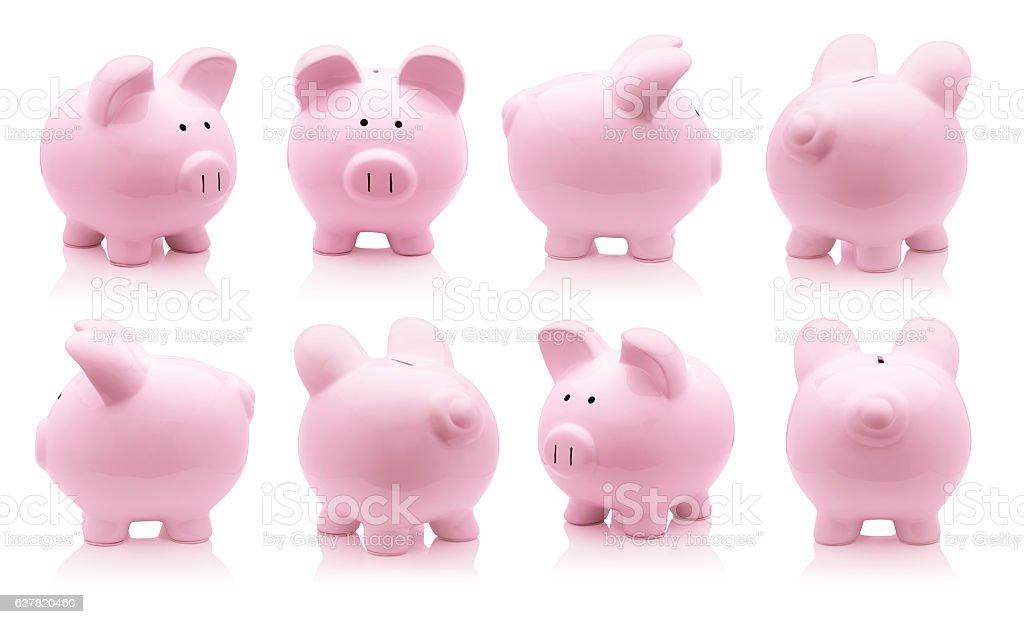 Pink piggy bank set stock photo