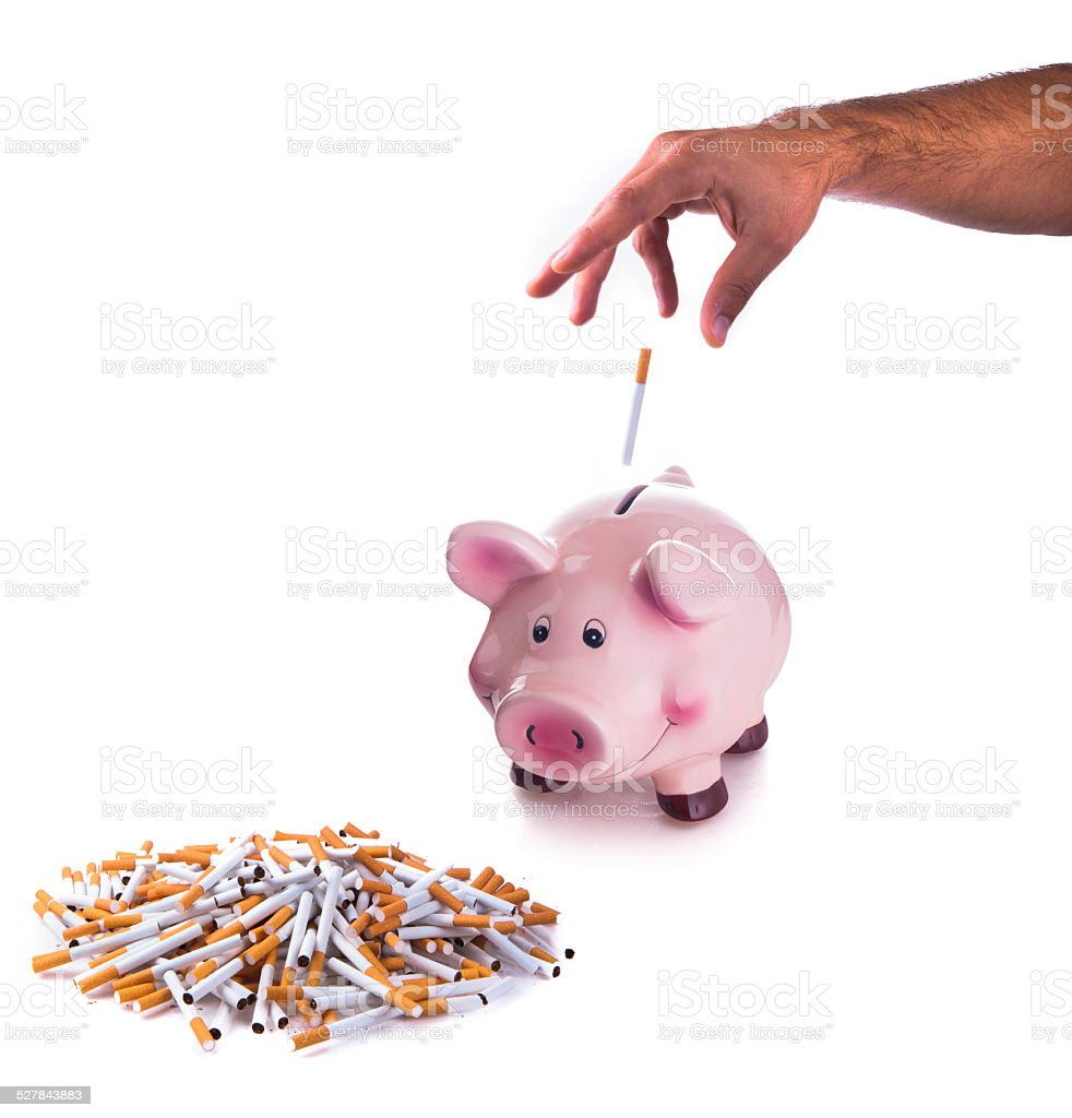 Pink piggy bank with cigarettes stock photo