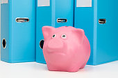 pink piggy bank with money is on the table