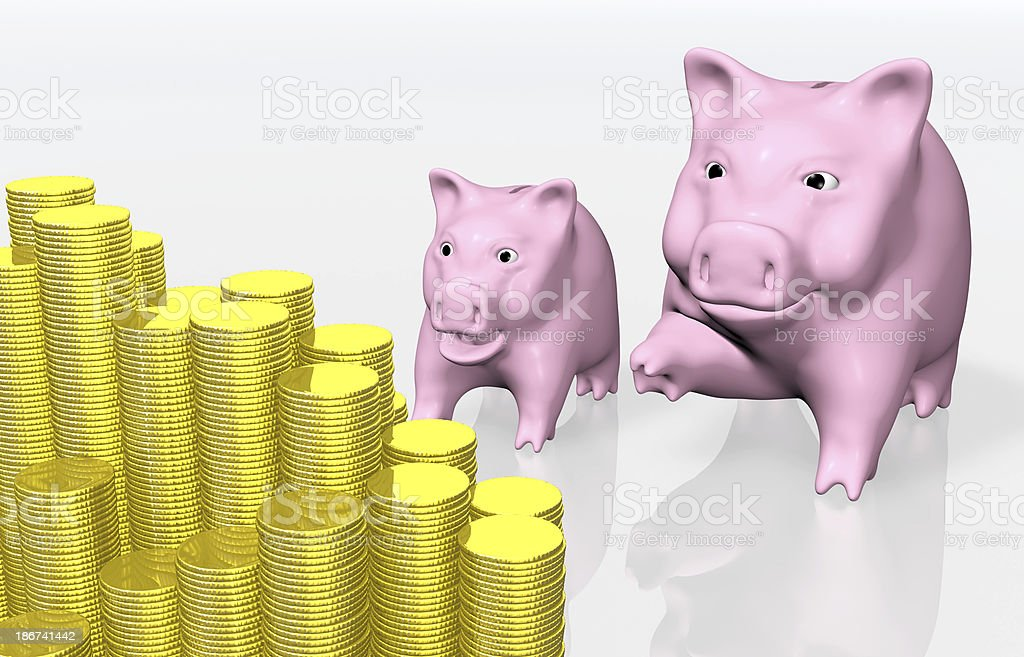 pink piggy indicates a stack of coins royalty-free stock photo