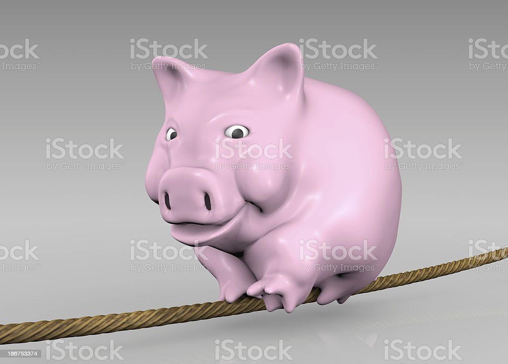 pink piggy on the rope royalty-free stock photo