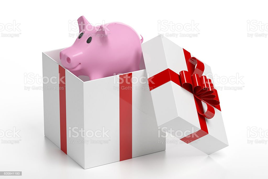 Pink Piggy Savings Bank in a Gift Box stock photo