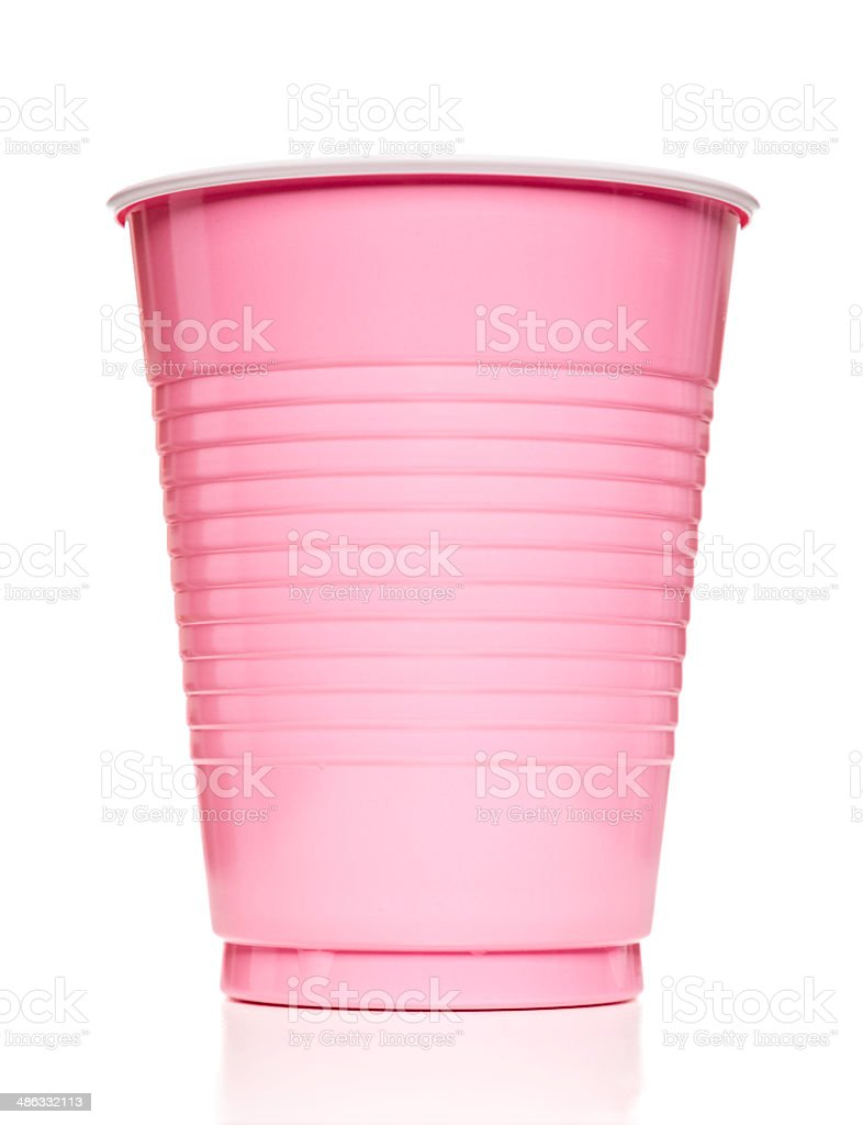 pink plastic cup stock photo