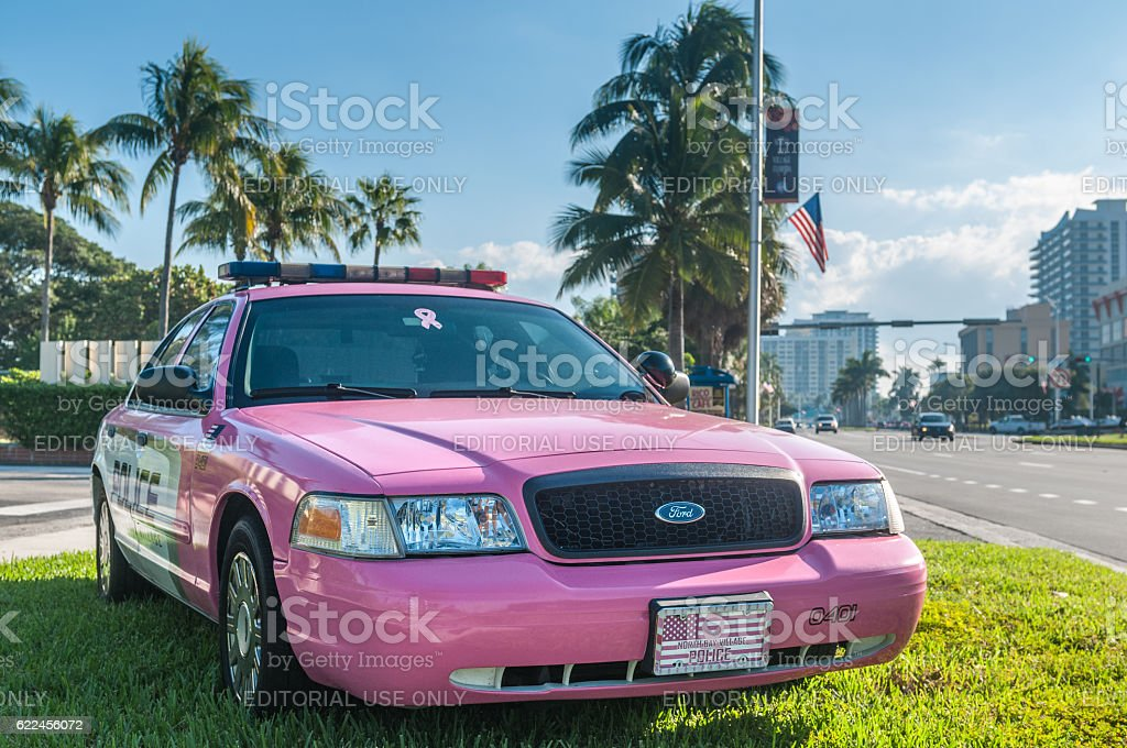 Pink Police car stock photo