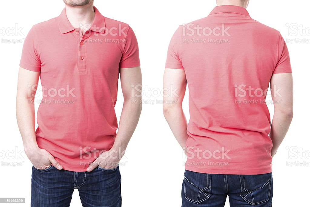 Pink polo shirt on a young man template stock photo