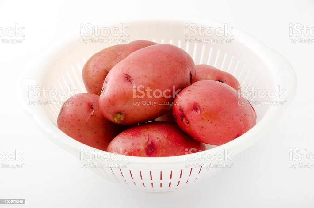 pink potatoes stock photo