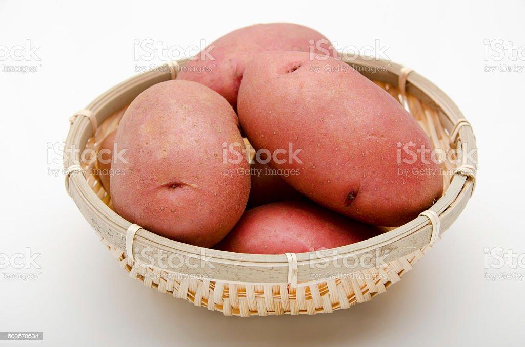 pink potatoes stock photo