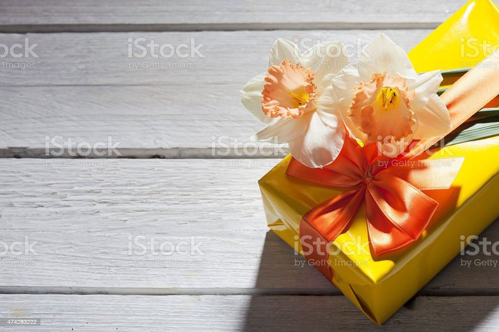 Pink Present, Flowers, on wood stock photo