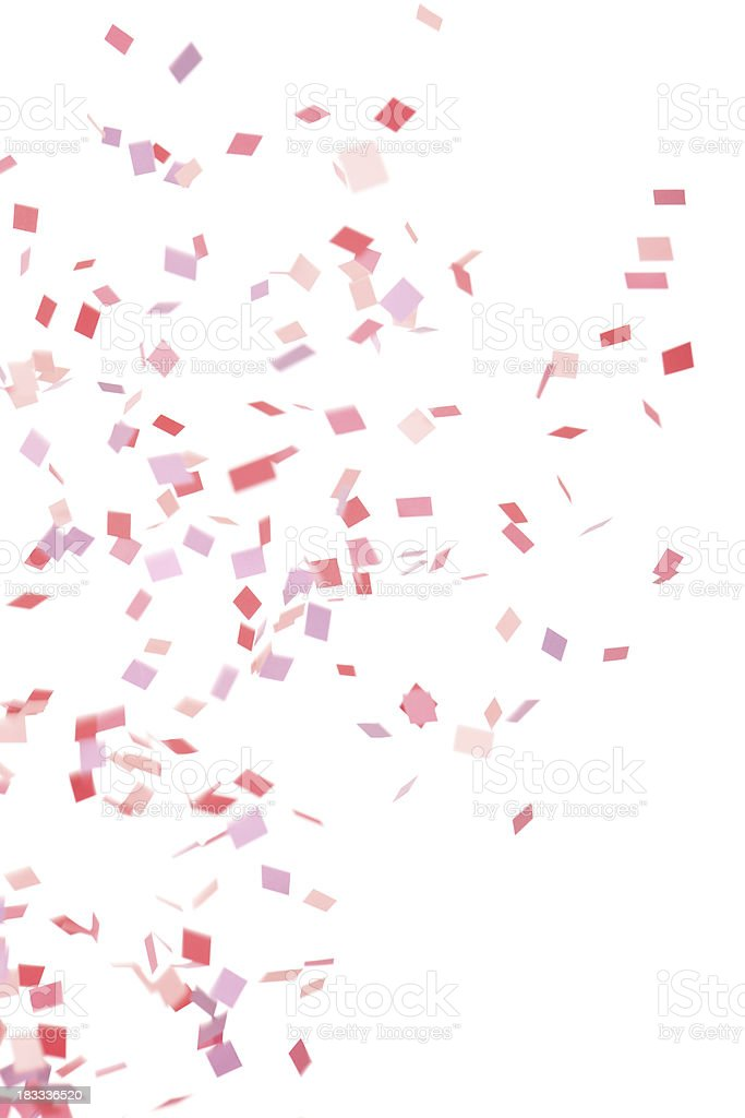Pink, Purple and Red Confetti Falling, Isolated on White stock photo