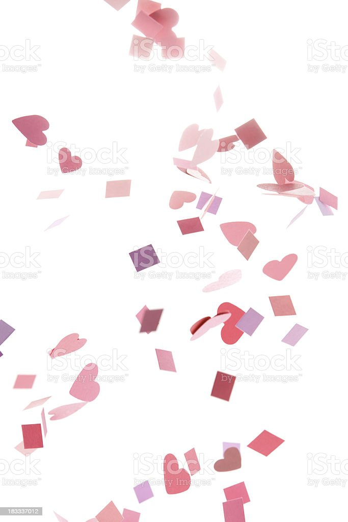 Pink, Purple, Red Confetti Hearts and Squares royalty-free stock photo
