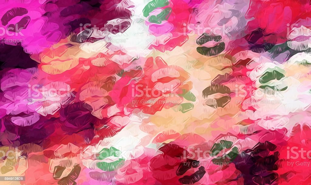 pink red and green kisses lipstick vector art illustration
