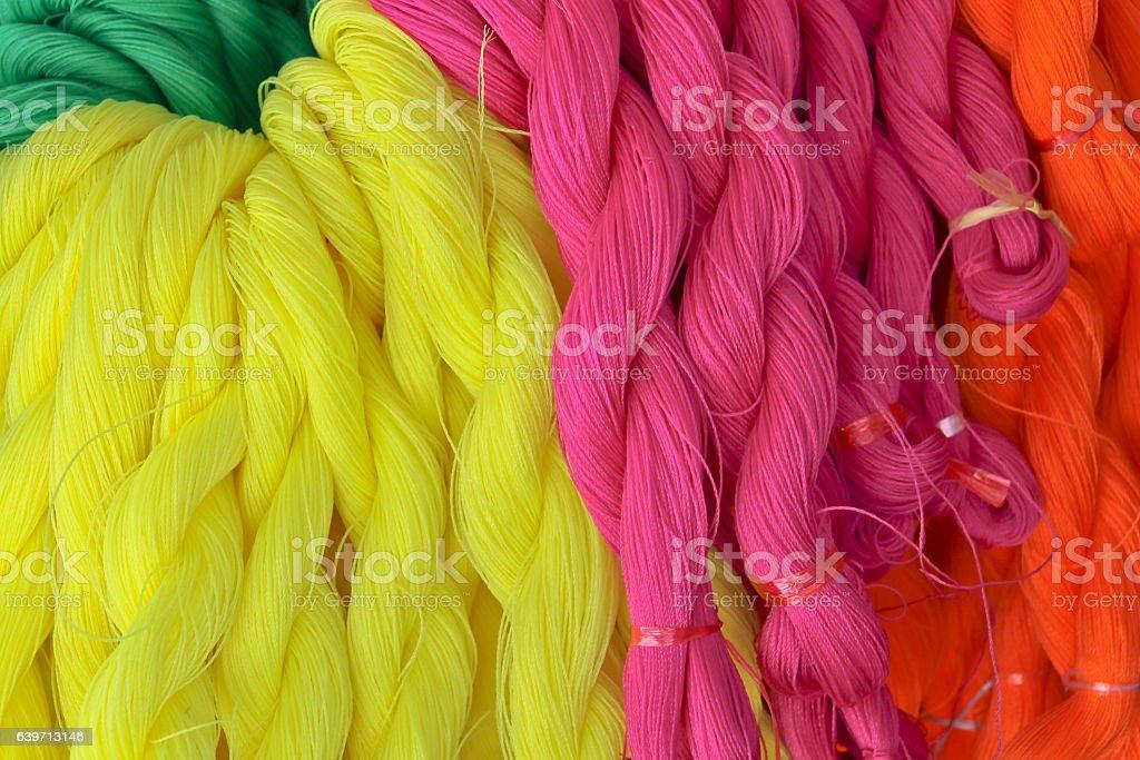 Pink red yellow nylon rope stock photo