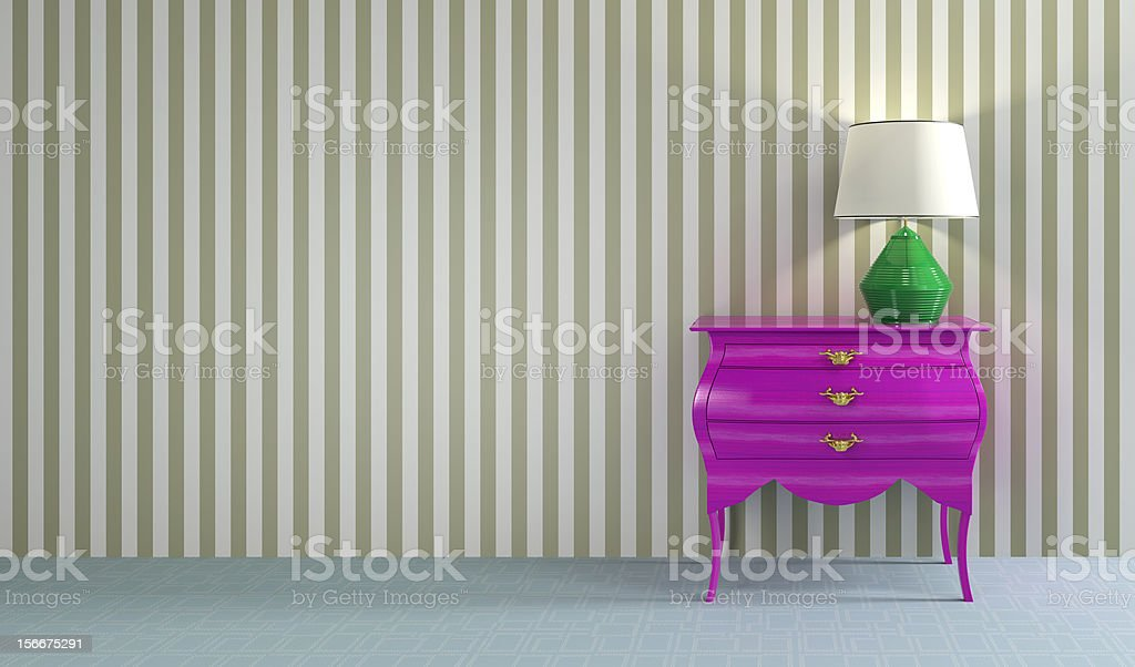 Pink retro commode with green lamp royalty-free stock photo