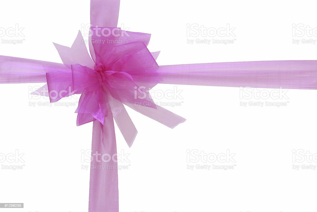 Pink ribbon and bow (clipping path) stock photo