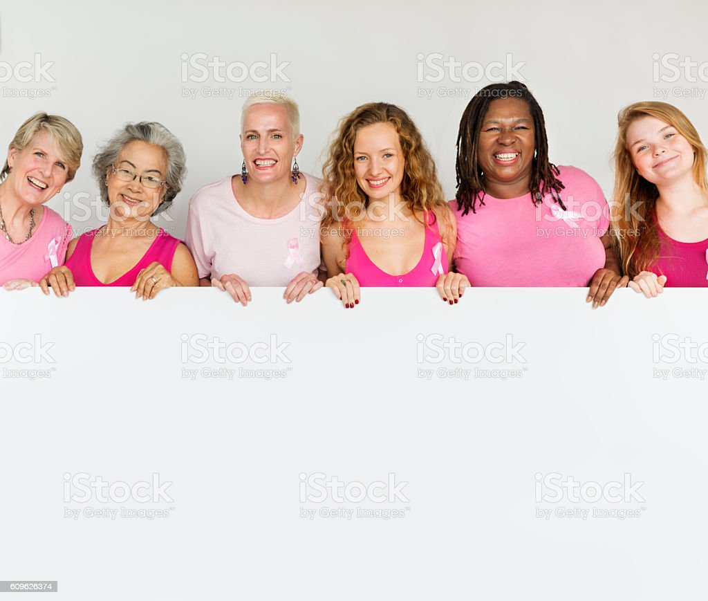 Pink Ribbon Breast Cancer Girls Feminine Copy Space Banner Conce stock photo