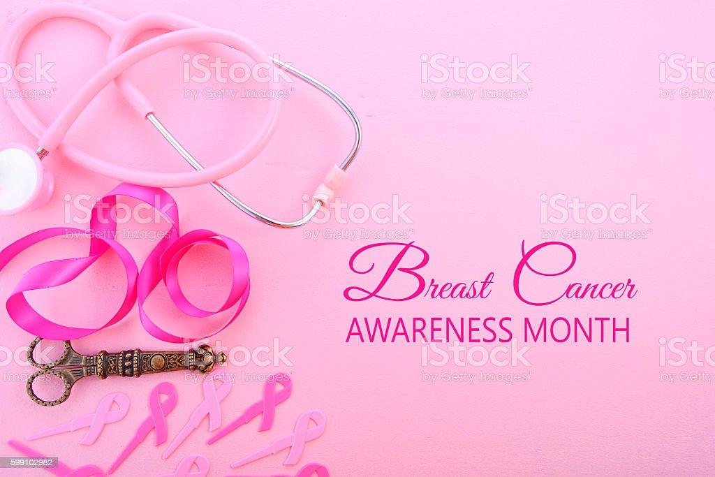 Pink Ribbon Charity Background. stock photo