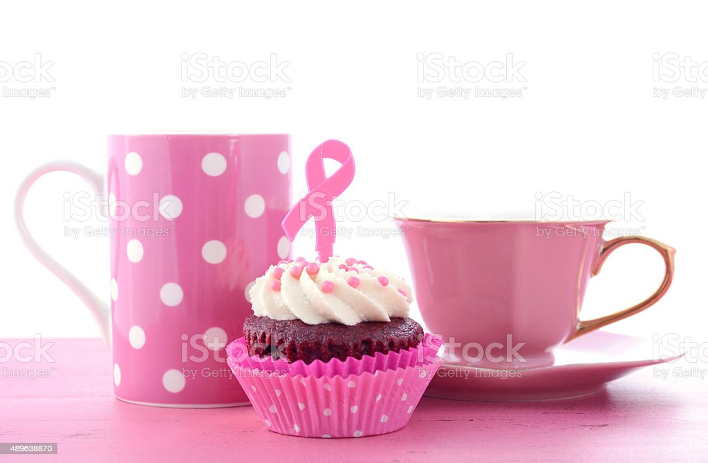 Pink Ribbon Charity for Womens Health Awareness Cupcakes. stock photo