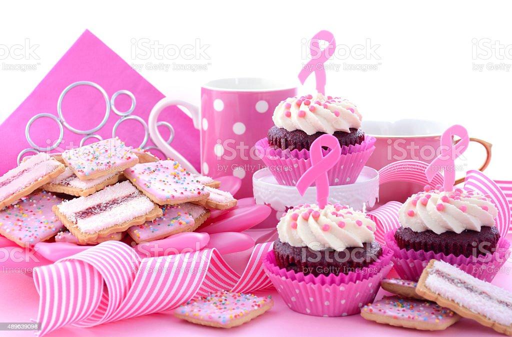 Pink Ribbon Charity for Womens Health Awareness Morning Tea. stock photo