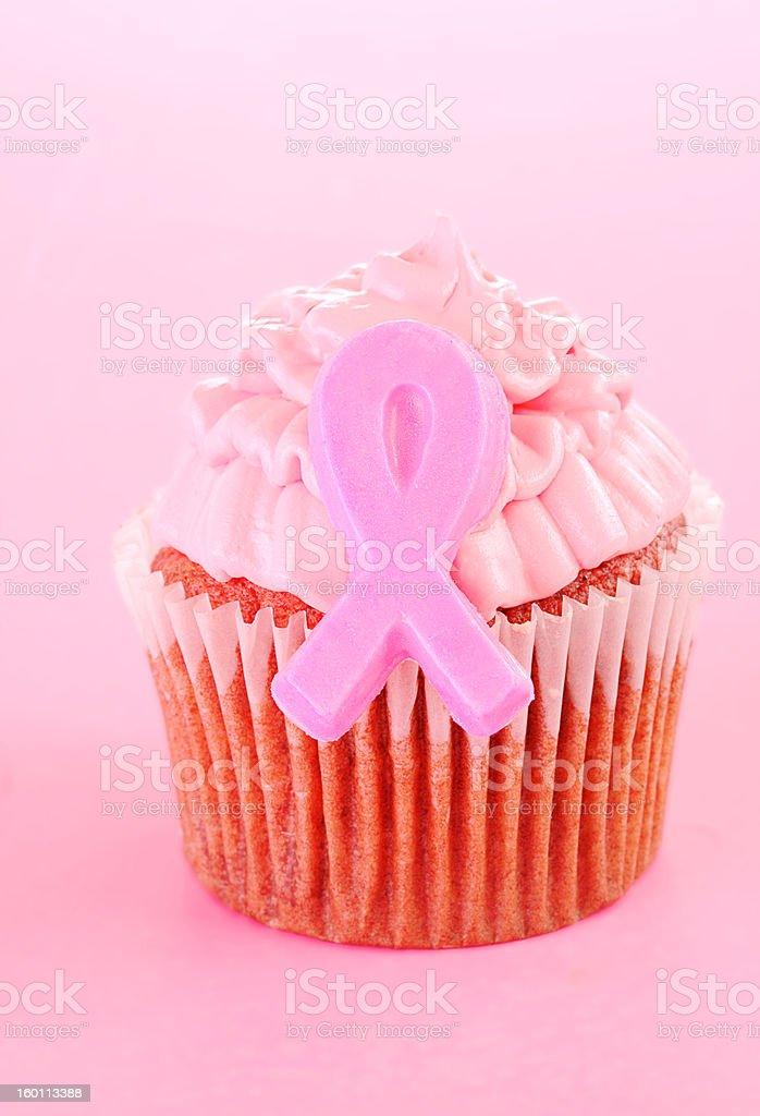 Pink ribbon cupcake royalty-free stock photo