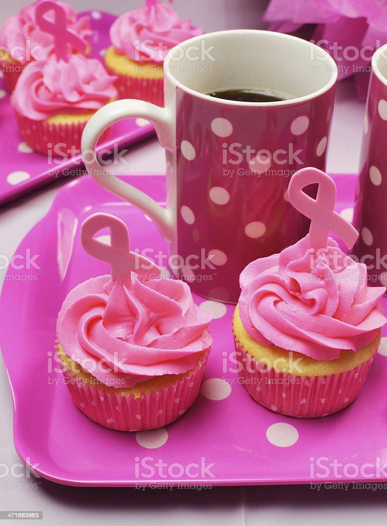 Pink ribbon morning tea - vertical. royalty-free stock photo
