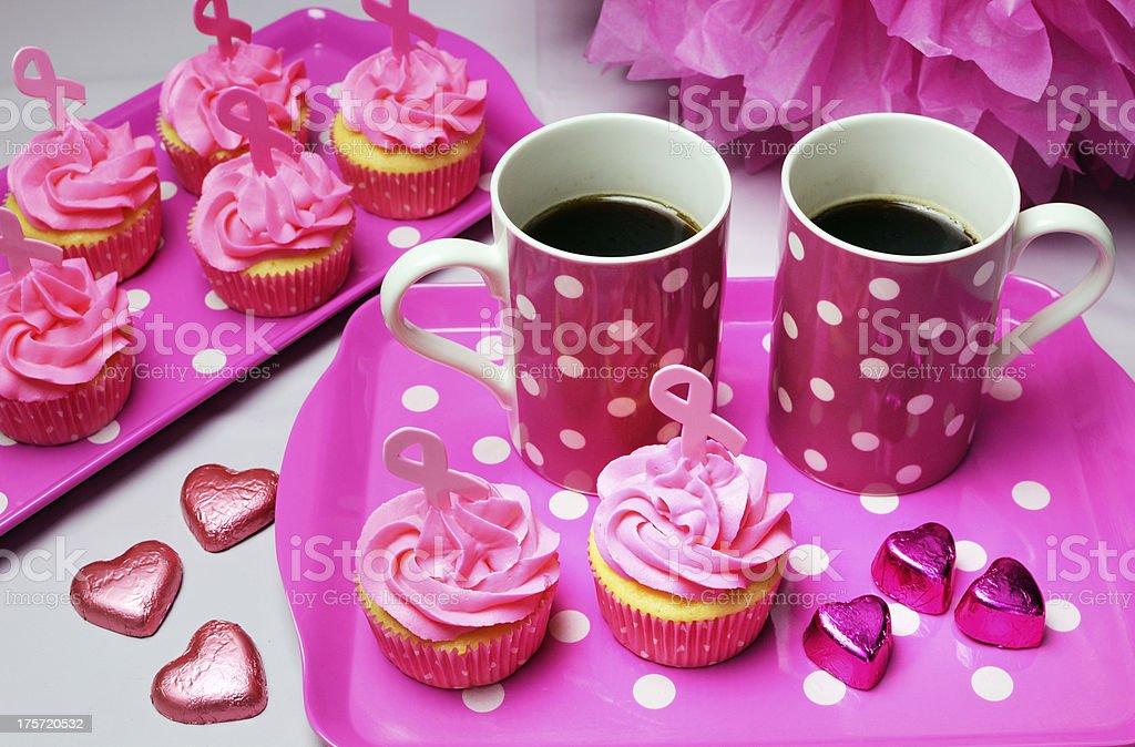 Pink Ribbon morning tea with cupcakes royalty-free stock photo