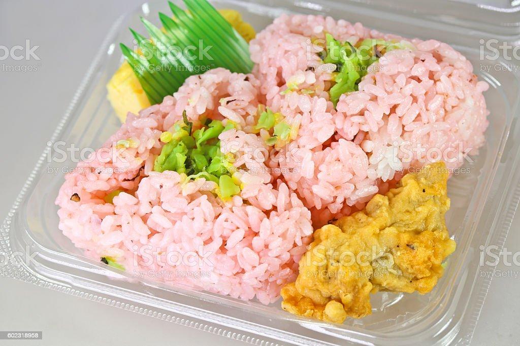 Pink Rice Balls in Plastic Box stock photo