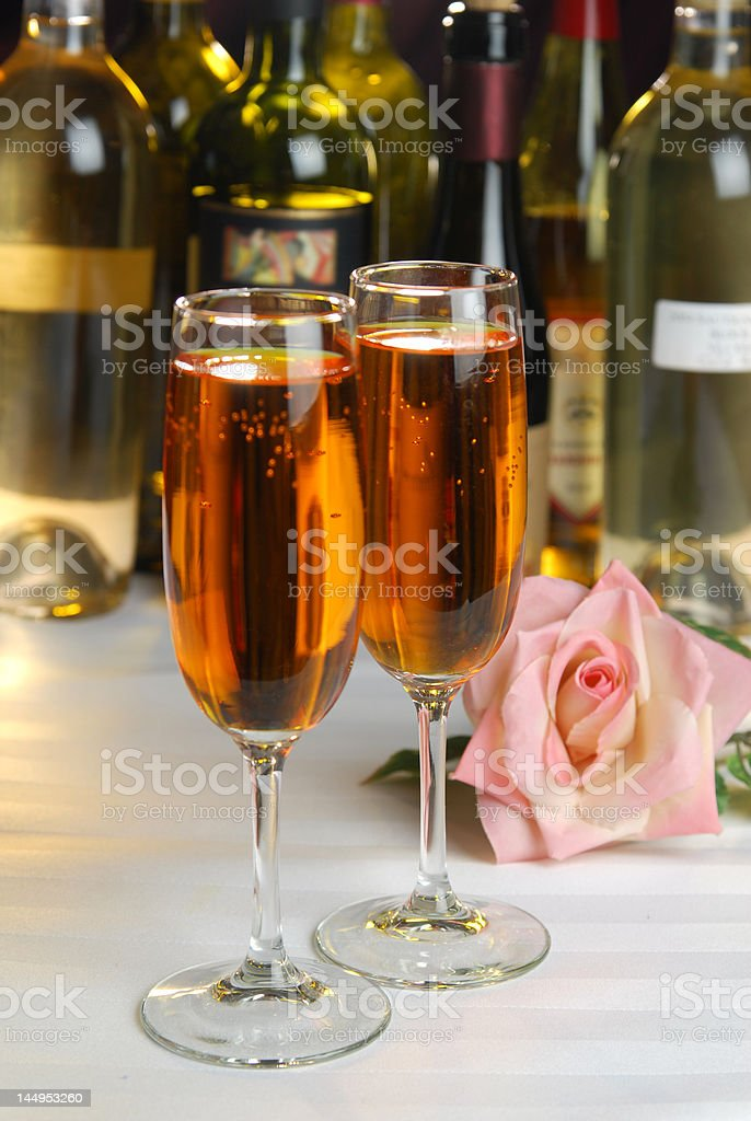 Pink Rose and Wine royalty-free stock photo