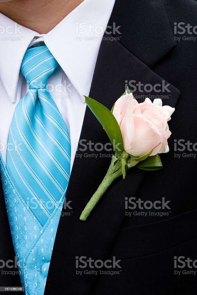 Pink Rose Boutonniere stock photo