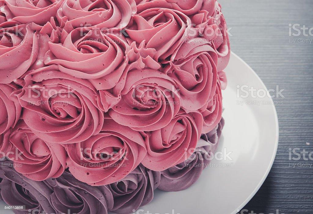 pink rose cake stock photo