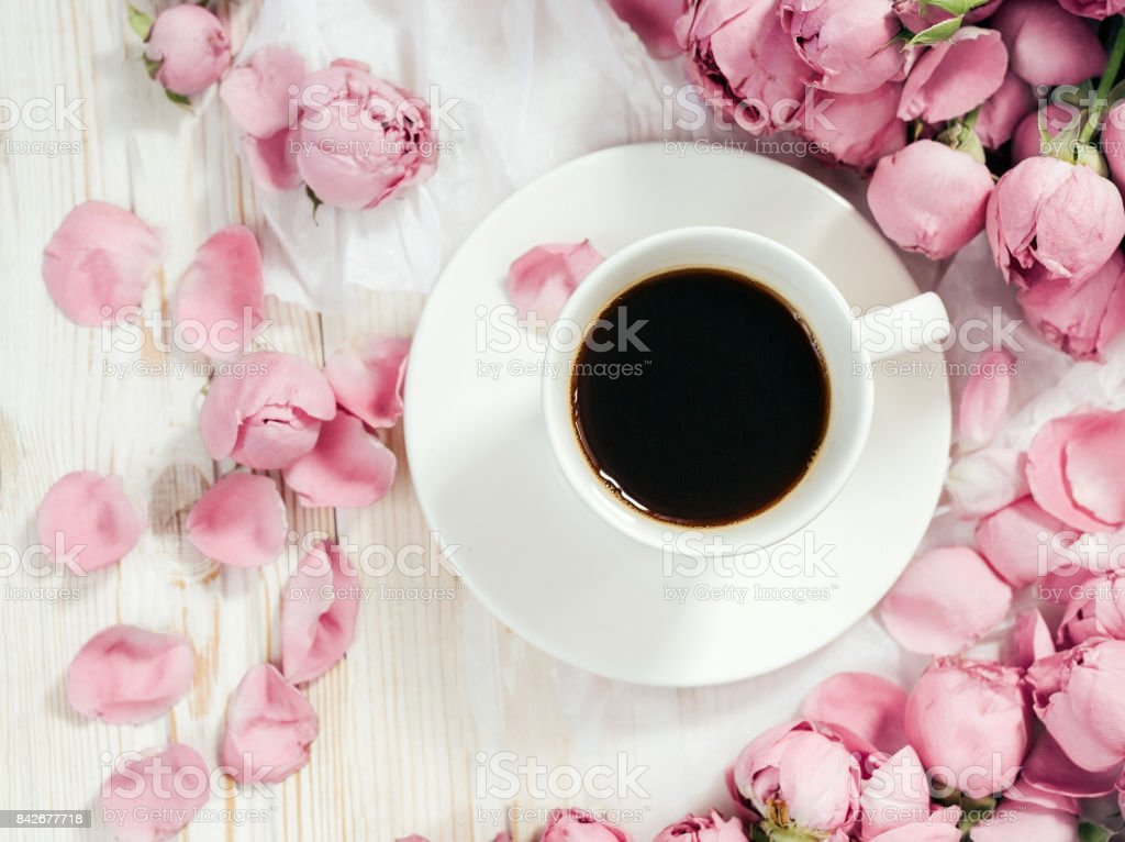 Pink rose flower and coffee on pastel background. Flat lay stock photo